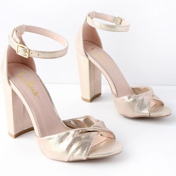 Hp Champagne Metallic Heel Sandal Nwt
